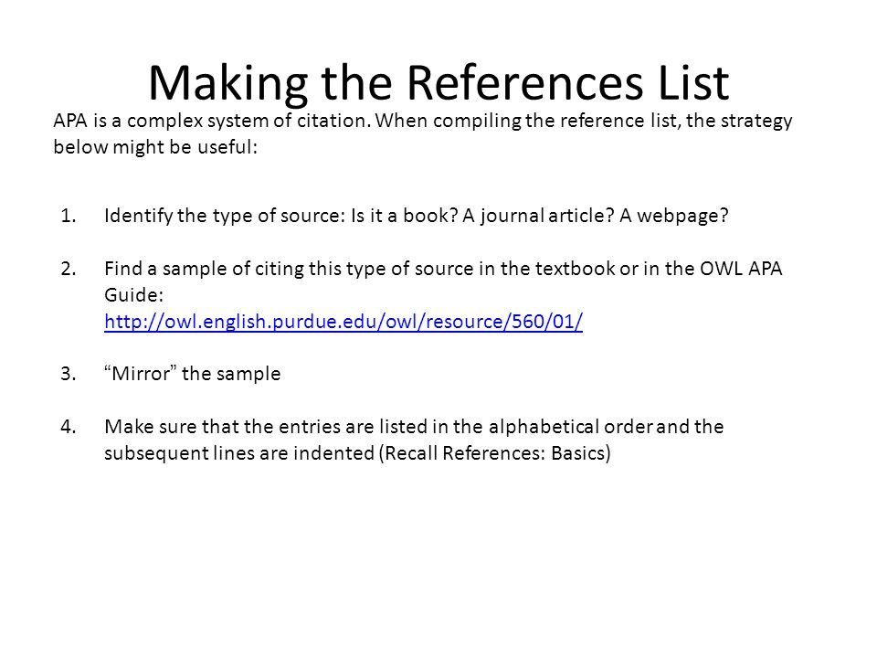 Making the References List