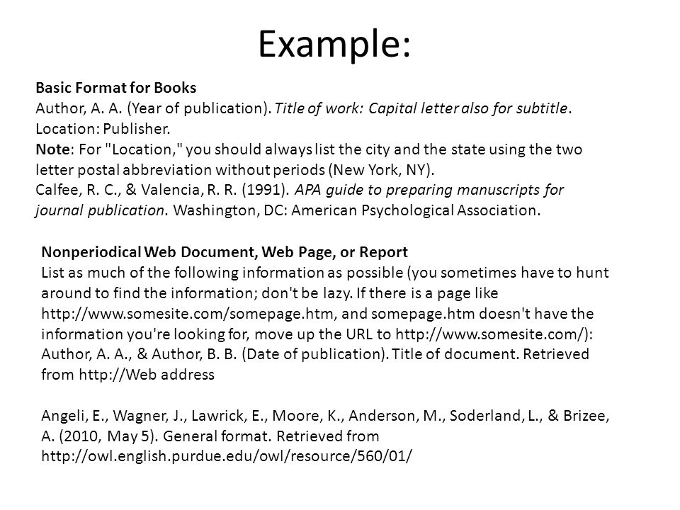 Example: Basic Format for Books