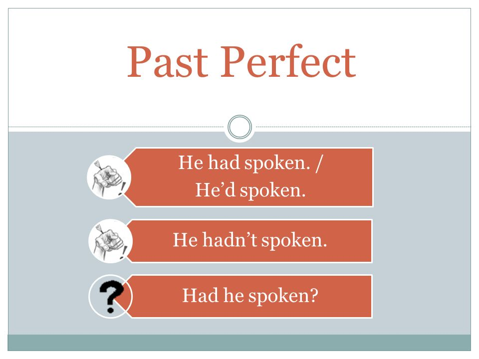 Past Perfect had + [past participle]. - ppt download