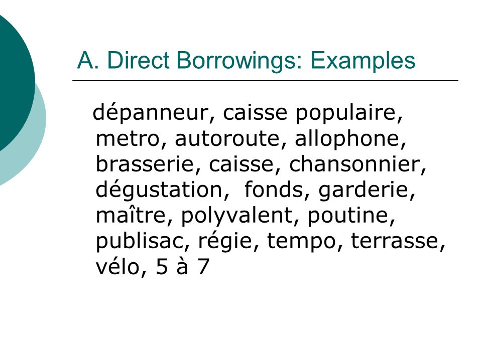 A. Direct Borrowings: Examples