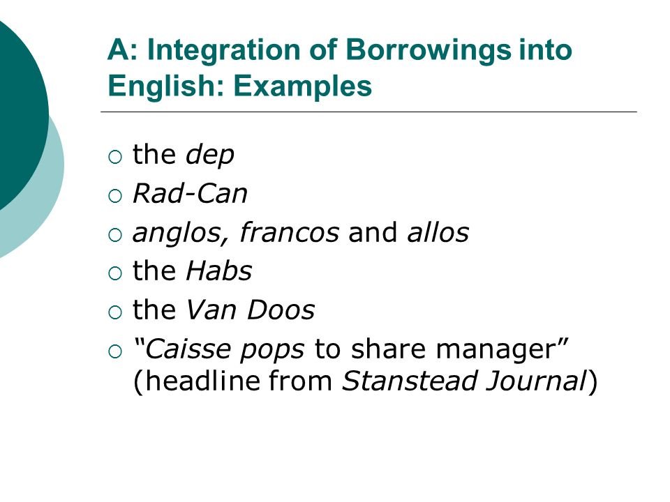A: Integration of Borrowings into English: Examples
