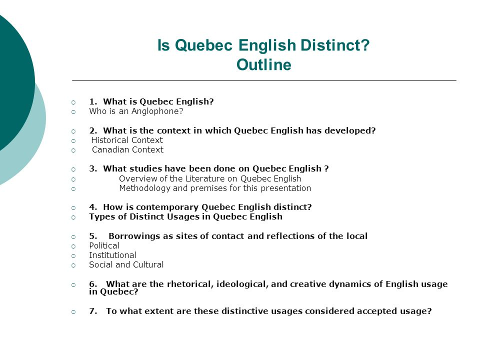 Is Quebec English Distinct Outline