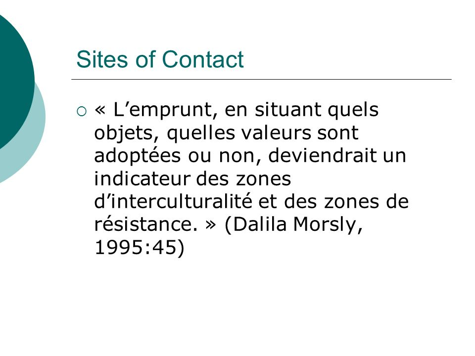 Sites of Contact