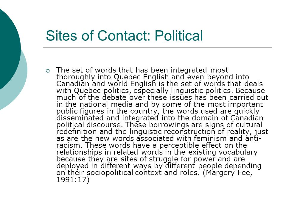 Sites of Contact: Political