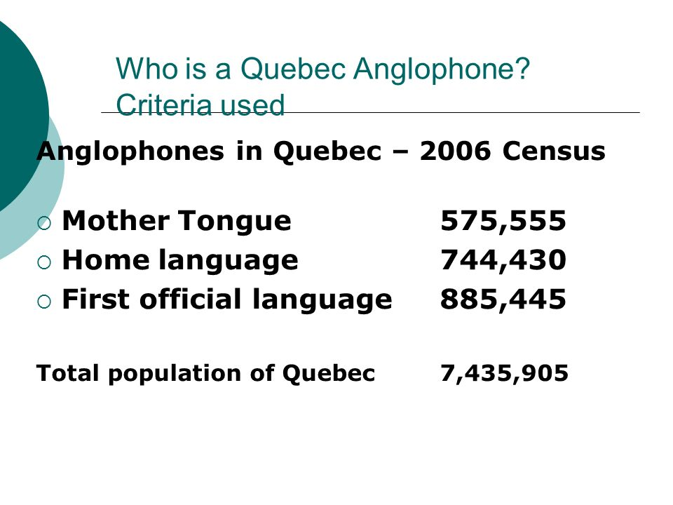 Who is a Quebec Anglophone Criteria used