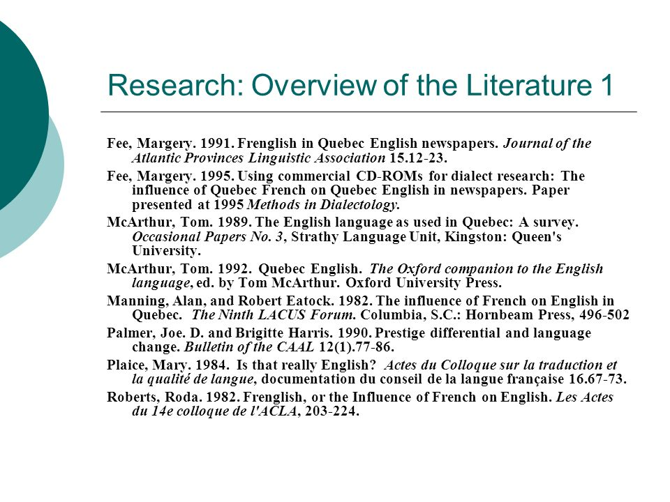 Research: Overview of the Literature 1