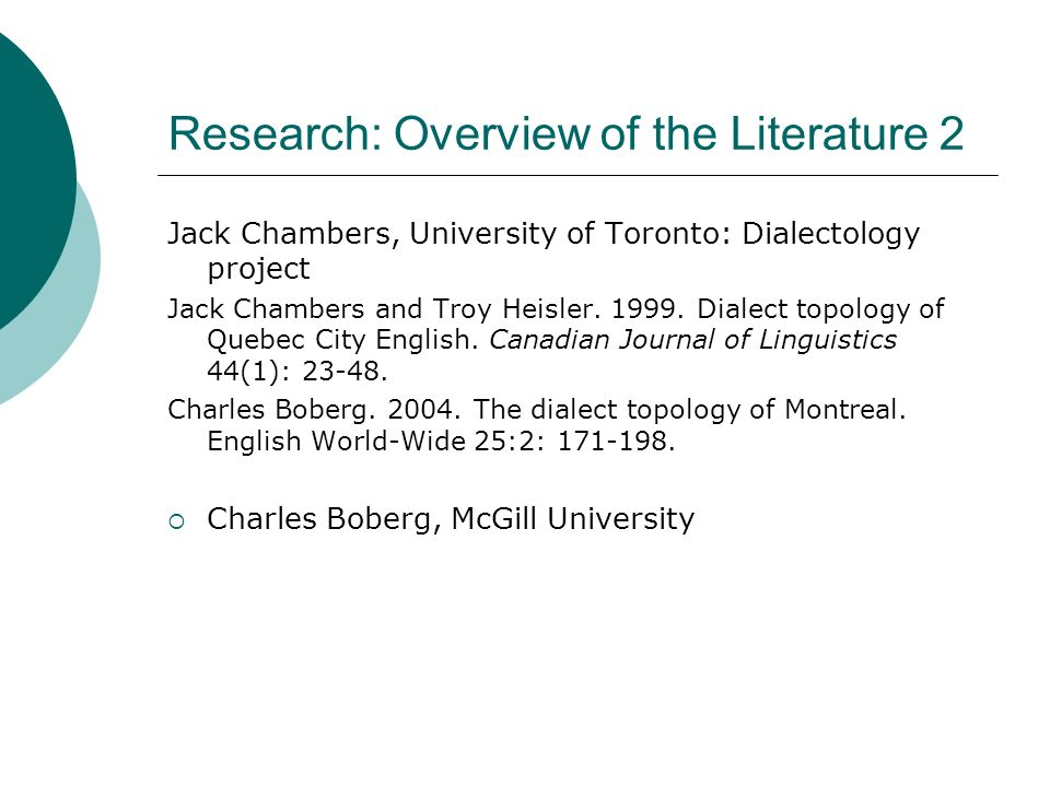 Research: Overview of the Literature 2