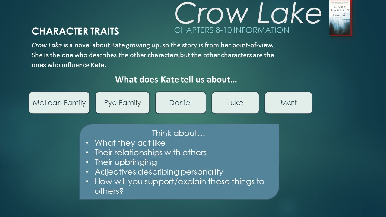 """metaphors in crow lake novel Fas/e with the residents of canim lake, bc  aboriginal youth"""" published in  the book in the  to identify ideas, experiences, images, metaphors, and."""