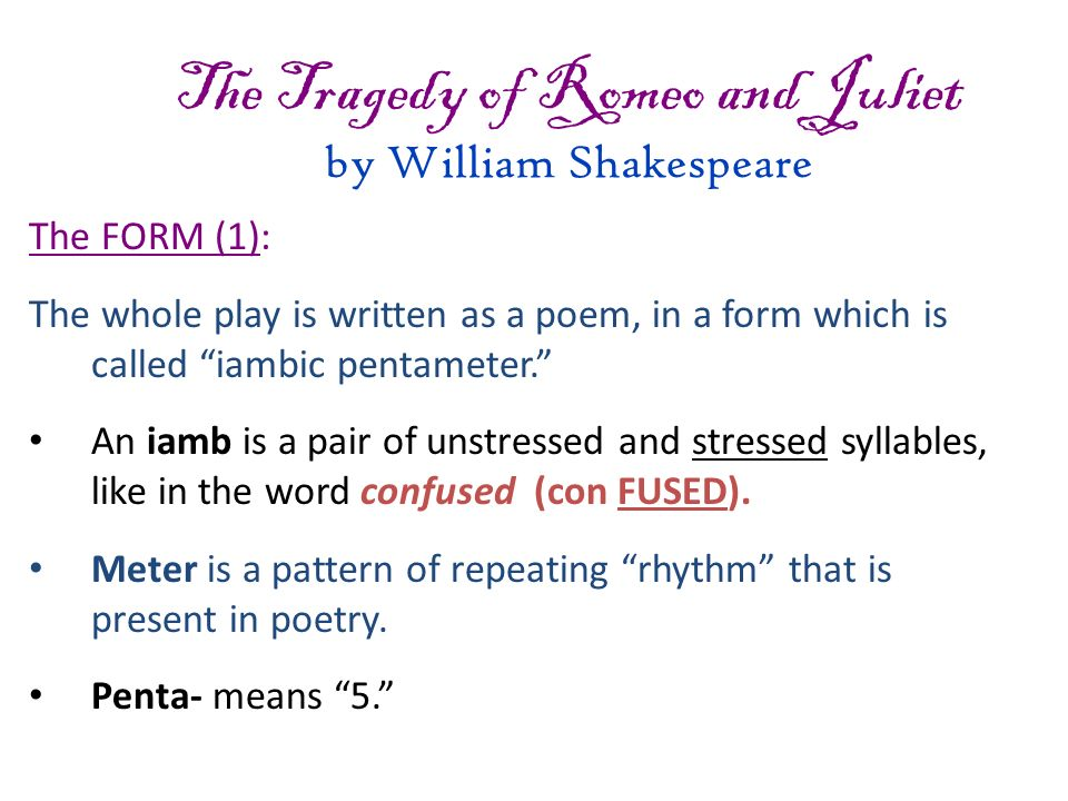 An analysis of various types of love presented in william shakespeares romeo and juliet