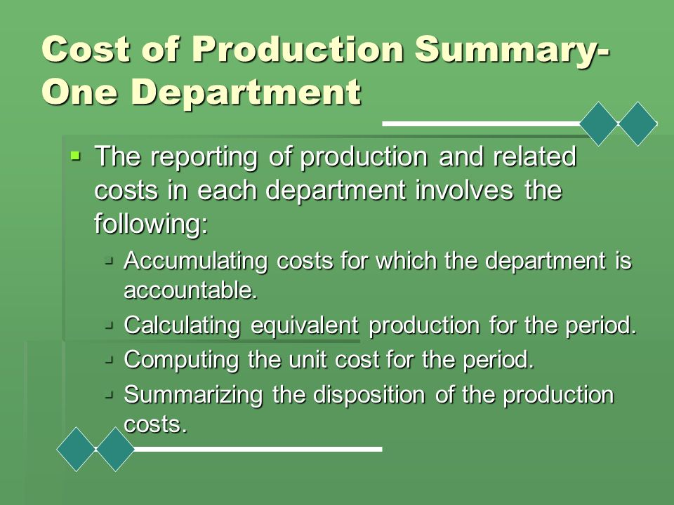 Cost of Production Summary-One Department