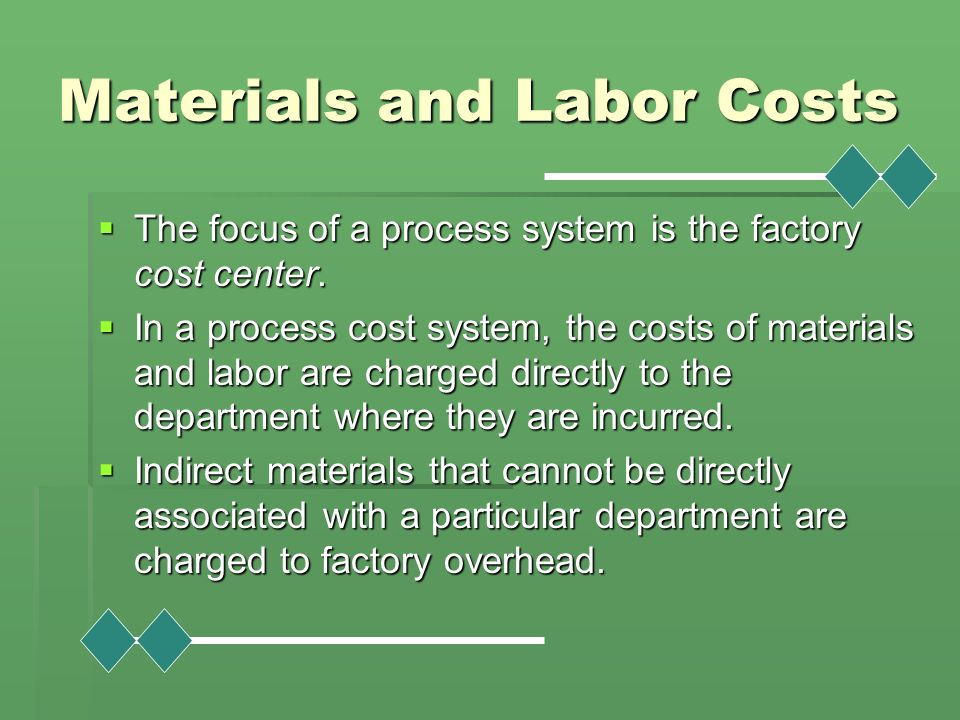 Materials and Labor Costs