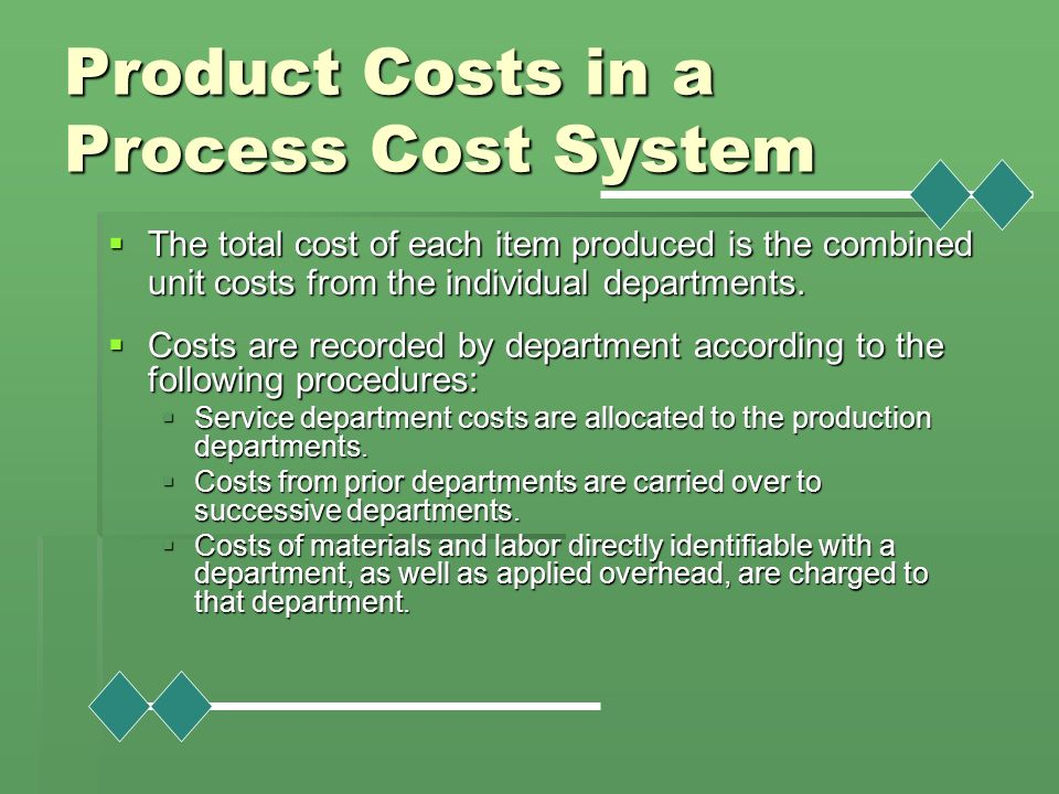 Product Costs in a Process Cost System