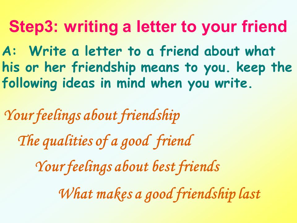 Write Letter To A Best Friend. Step3  writing a letter to your friend Unit 1 Task Writing ppt video online download