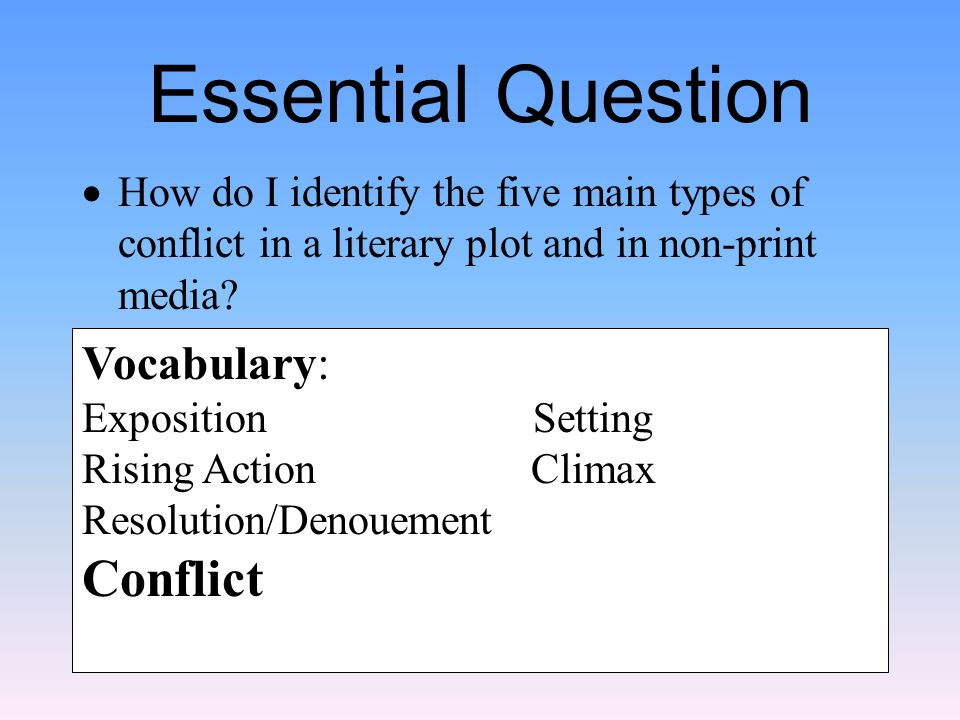 a description of the five literary conflicts in literature Literary conflict lesson plan with presentation, worksheets, posters  five types of conflict in literature  literary conflict from a work of literature.