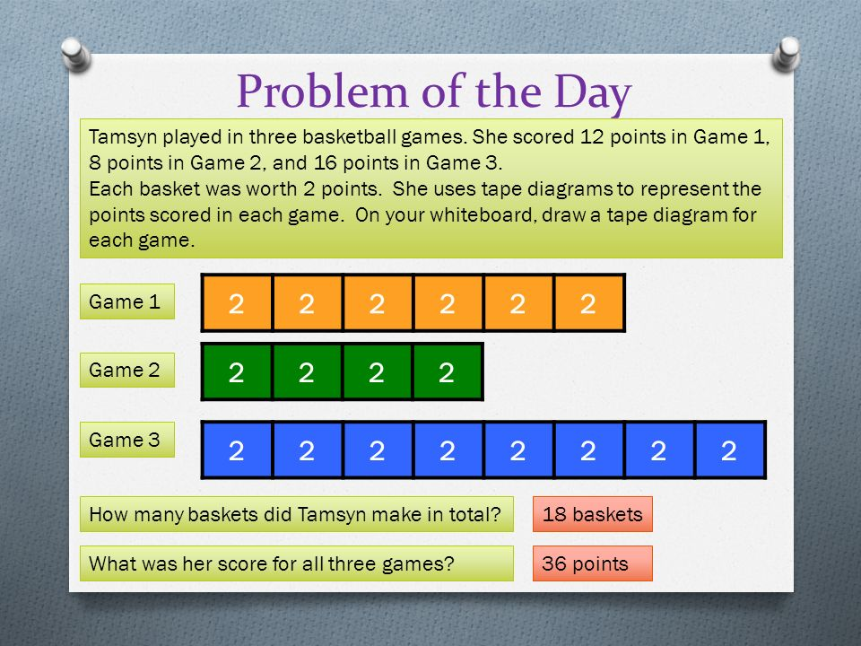 Rotate tape diagrams vertically to create bar graphs ppt video problem of the day tamsyn played in three basketball games she scored 12 points in ccuart Images