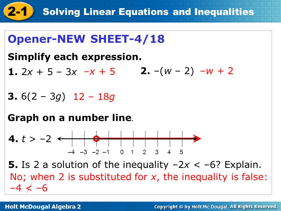 2 1 solving linear equations and inequalities warm up ppt video online download. Black Bedroom Furniture Sets. Home Design Ideas