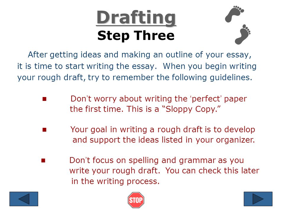 6 steps to writing an essay Below) or the critical thinking model step 6: writing you do not have to write  the various sections of the essay in the order that they appear in the final draft.