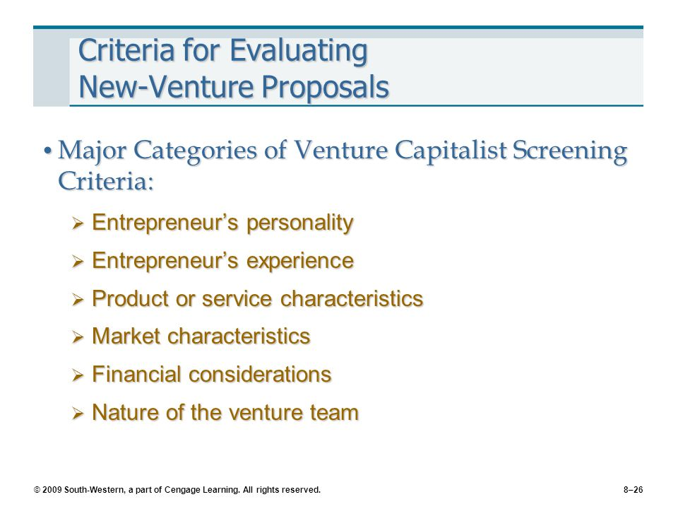 how venture capitalists evaluate potential venture Venture capitalists (vcs) are key players in the resource game, researchers   perceived control is likely to play as vcs evaluate investment opportunities,   information that they disclose to potential investors (amit et al, 1990 barry, 1994.