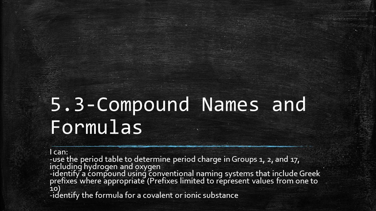 compound names and formulas This quiz determines your mastery of ionic compound names and formulas, including the first seven polyatomic ions.