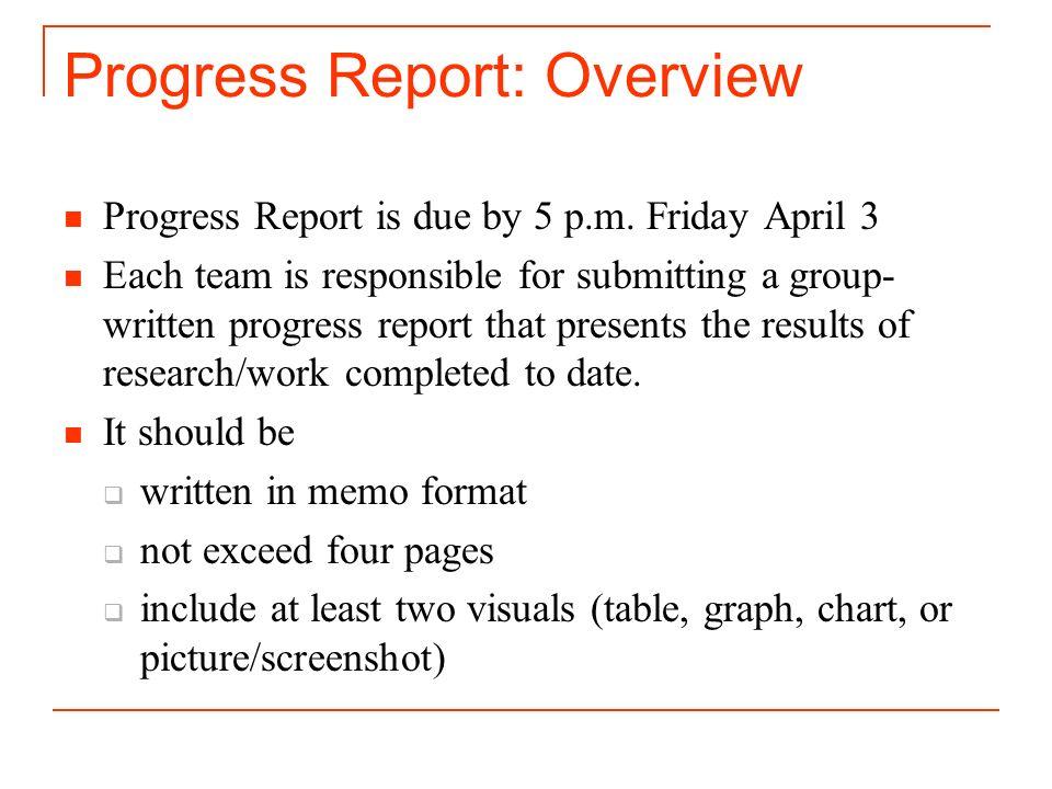 2 Progress Report: Overview  Format Of A Progress Report