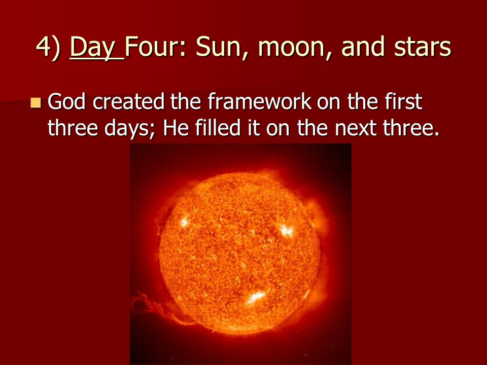 4) Day Four: Sun, moon, and stars
