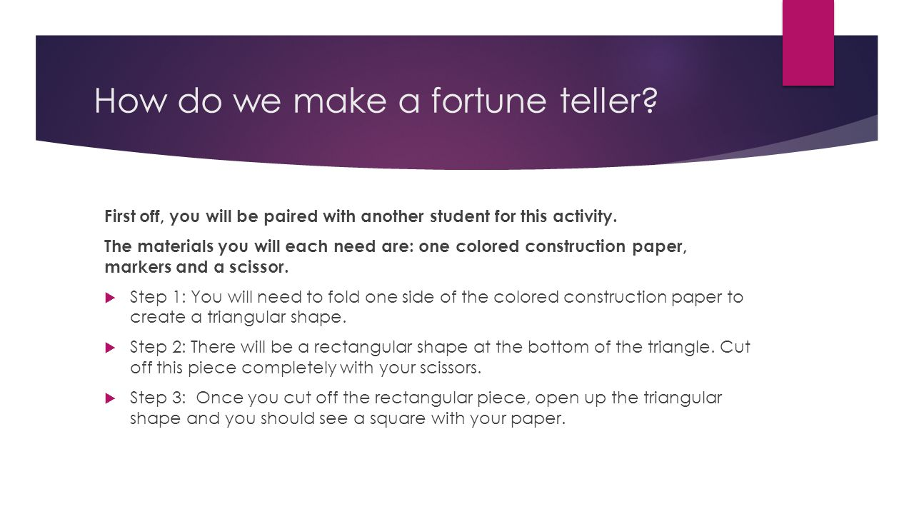 What to write in a fortune teller