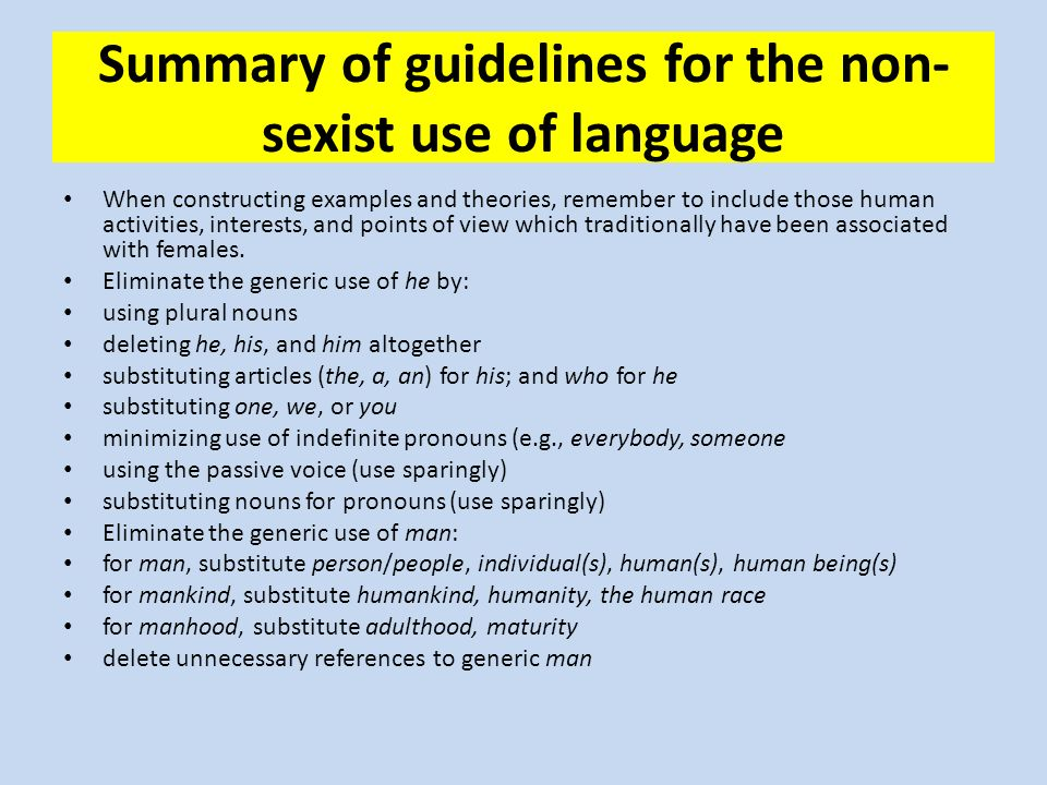 an analysis of the overall theme of sexism in language Teaching theme can be tough 11 essential tips for teaching theme in language arts plus, 5 mini-lessons on theme and ways to assess students' understanding.