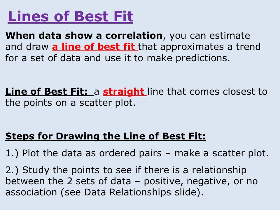 Drawing Lines Of Best Fit : Lines of best fit when data show a correlation you can