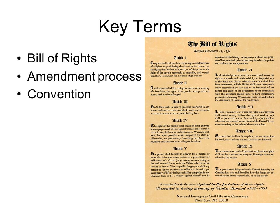 Bill of rights worksheet text answers