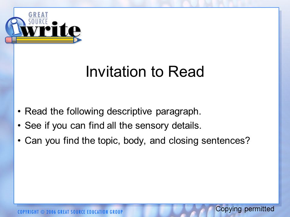 Descriptive writing tell me all about it copying permitted ppt 8 invitation stopboris Gallery