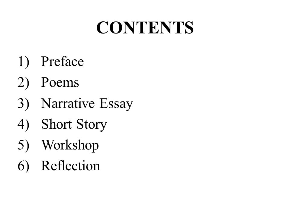 e portfolio in creative writing ppt video online  2 contents preface poems narrative essay short story workshop reflection