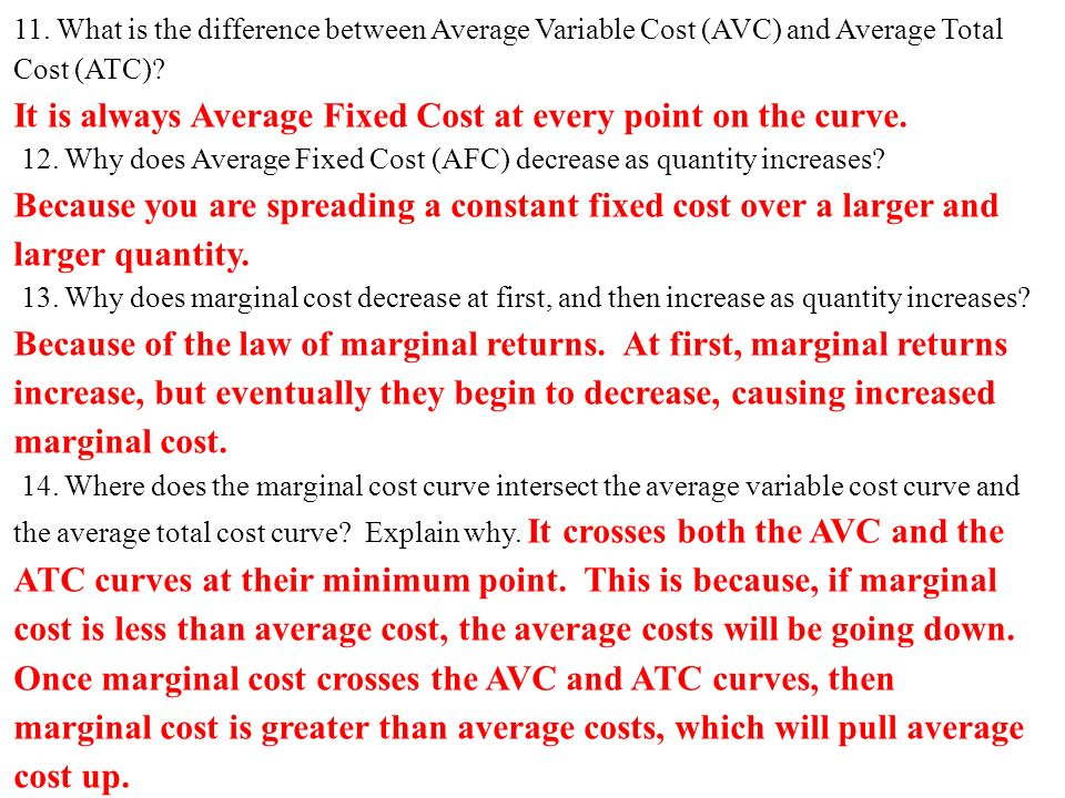 how to find where marginal cost crosses avc