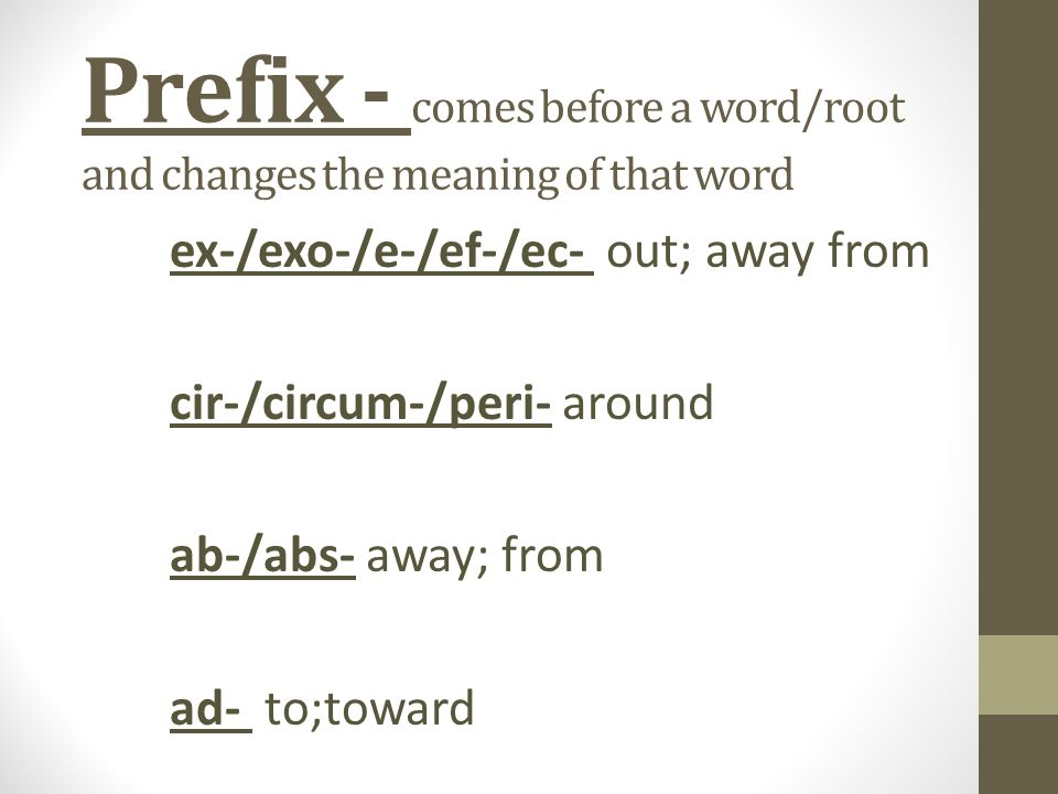 Comes Before A Word/root And Changes The Meaning