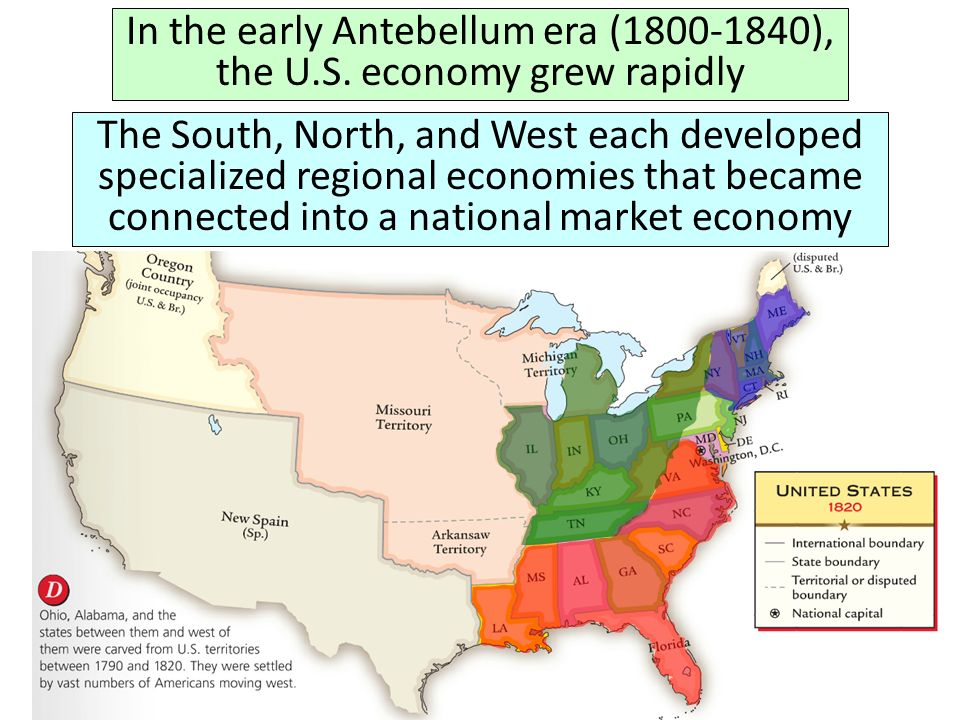 In The Early Antebellum Era The Us Economy Grew Rapidly Ppt - Us-map-early-1800s