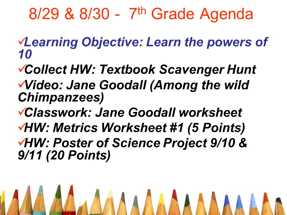 829 8 th Grade Agenda Learning Objective Learn the powers of – Textbook Scavenger Hunt Worksheet