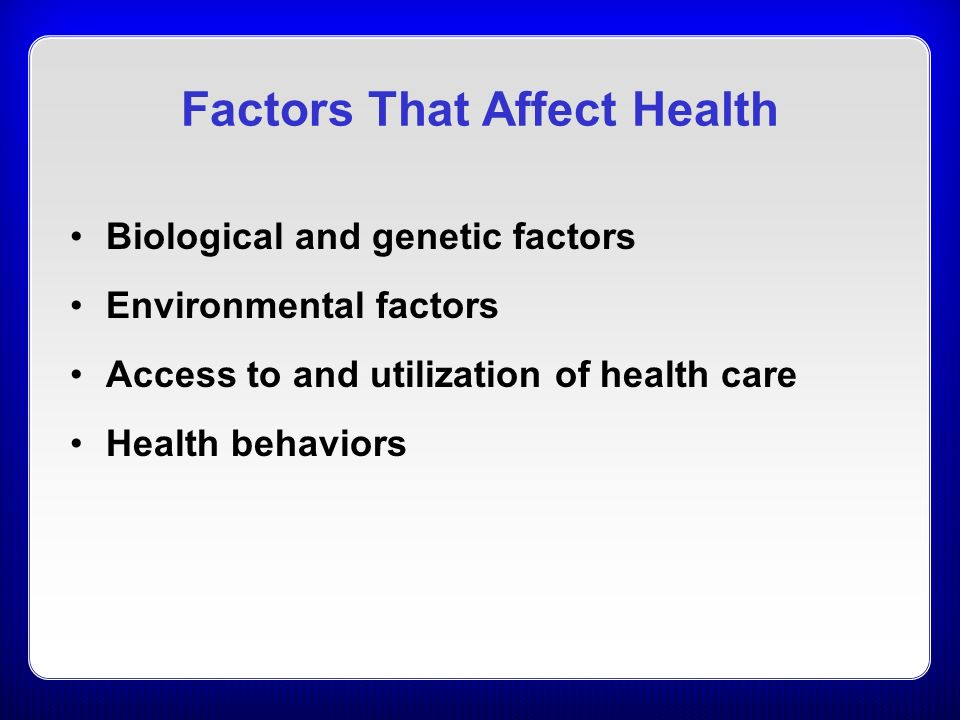 health and illness are affected by biological factors Studies have shown that biological factors do play an important role in mental illness it's in fact a critical element in one's mental health and possible development of mental health disorders women have lower serotonin levels than men and also process the chemical at slower rates, which can contribute to fluctuations in mood.