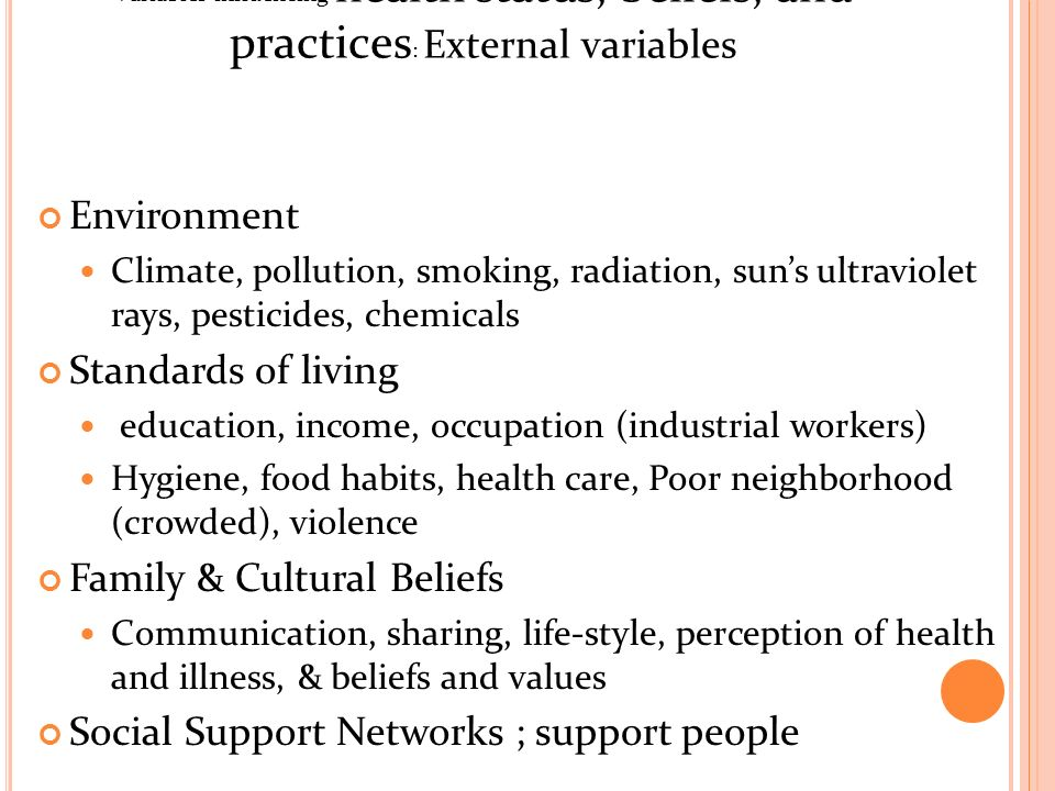 culture health beliefs Health beliefs and practices culturally effective care toolkit – chapter 2 many variables such as culture, socioeconomic factors, generational practices, and current trends affect patients.
