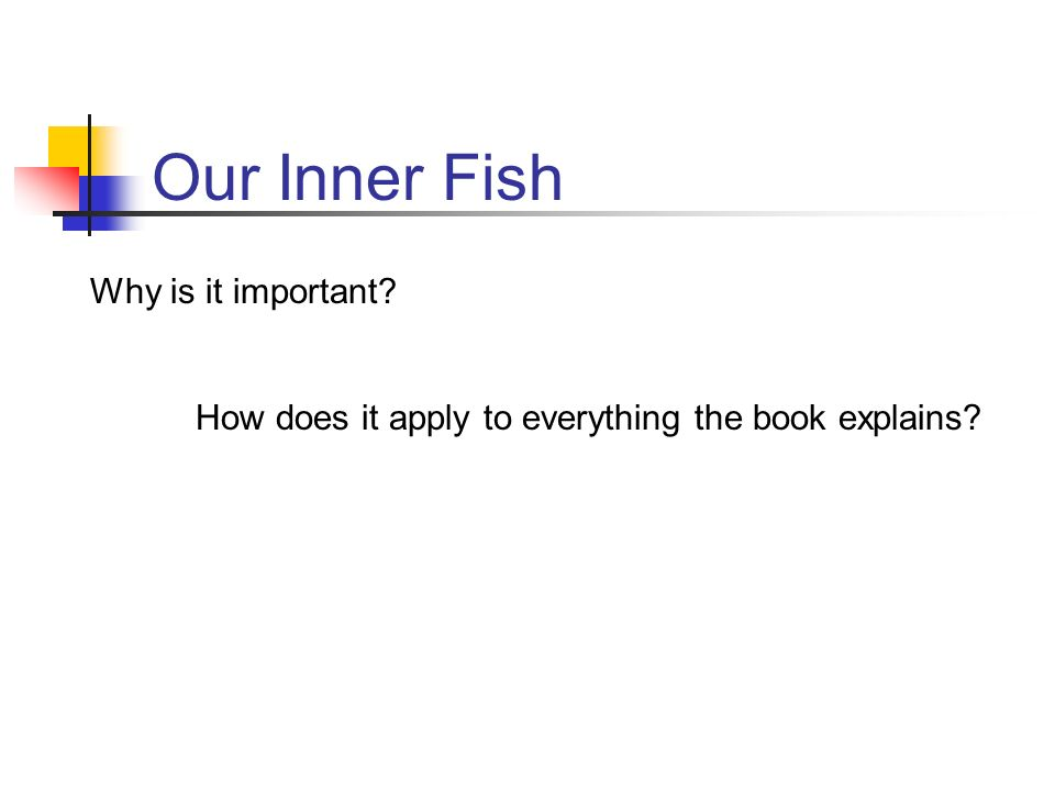 inner fish essay Cheyenne grindrod ap biology mrs lancaster 05 august 2013 chapter 1: finding your inner fish part 1: (b) prediction: judging by the image of the magazine.