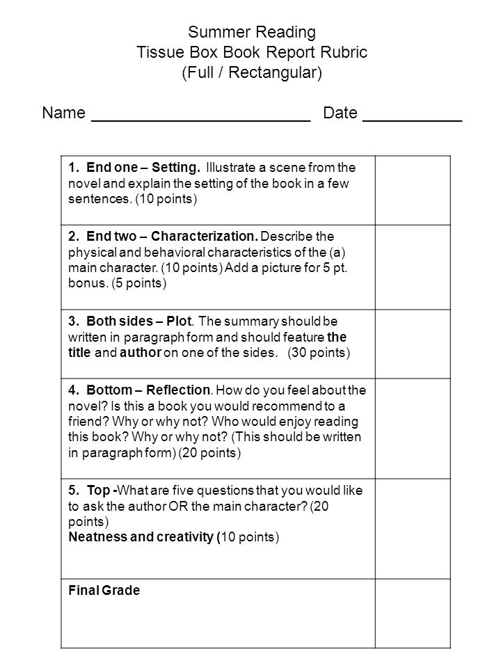 Book Review Rubric Editable (FREE)