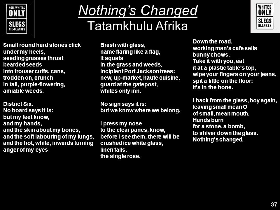 tatamkhulu afrika nothings changed essay In the poem nothing's changed, tatamkhulu afrika, on his return, imagines and  hopes for a more just and less racially-divided country, but, to his surprise,.