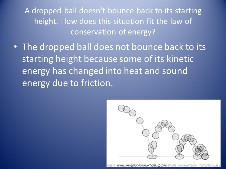 bounce height when a ball is dropped essay Thus, a ball that is dropped from a certain height will bounce to a height that is  less than the original level from which it was dropped.