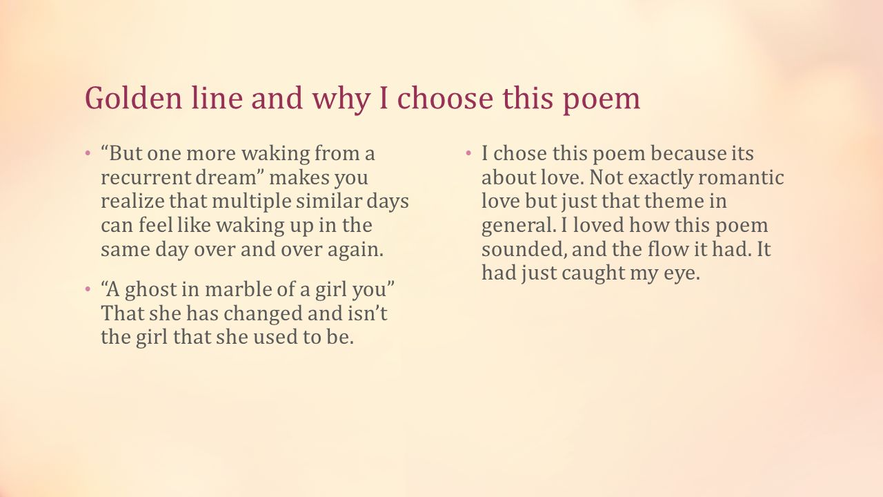 the poem i chose is which