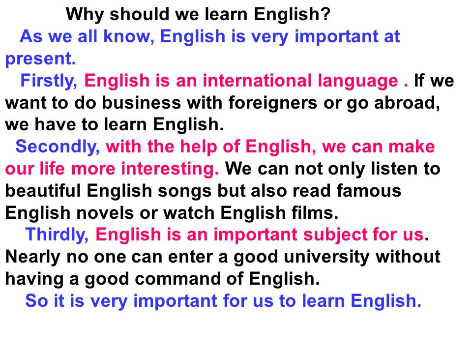 english importants