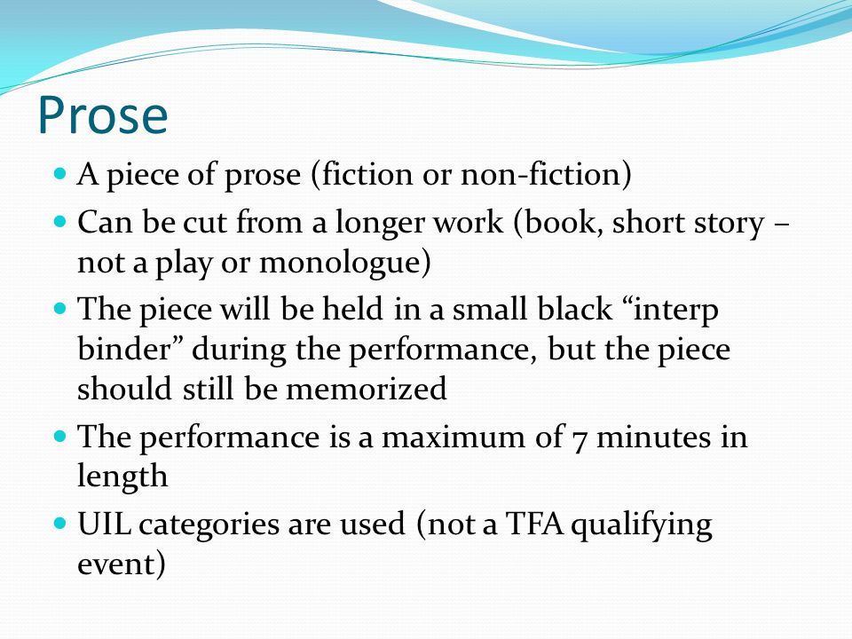 paragraph of non prose materials Any piece of prose, no matter how short, may mean in 10 (or more)  of the  paragraph, the relative importance of the intervening material is.
