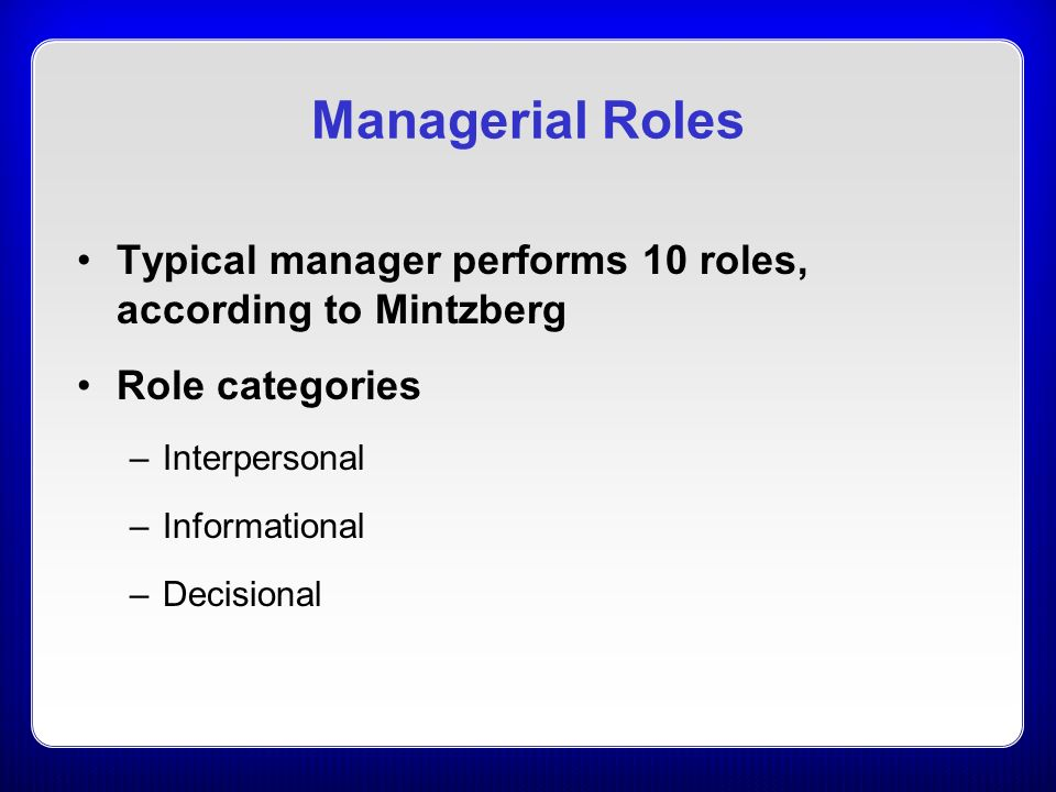 ten managerial roles as identified by The managerial roles approach one widely discussed approach to management theory is the managerial roles approach, popularized by henry mintzberg of mcgill university' essentially, his approach is to observe what managers actually do and from such observations come to conclusions as to what managerial activities (or roles) arc.