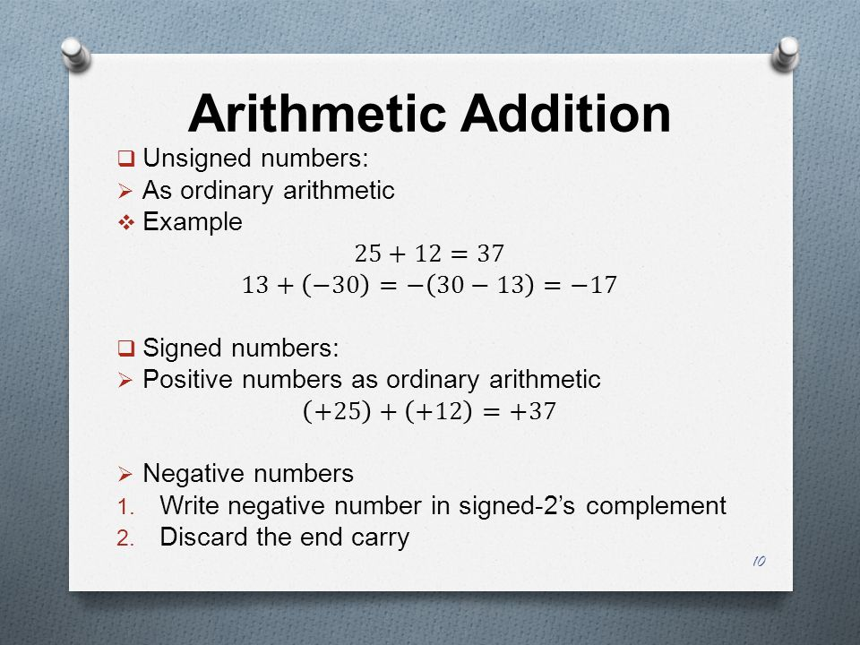 Arithmetic Addition Unsigned numbers: As ordinary arithmetic Example