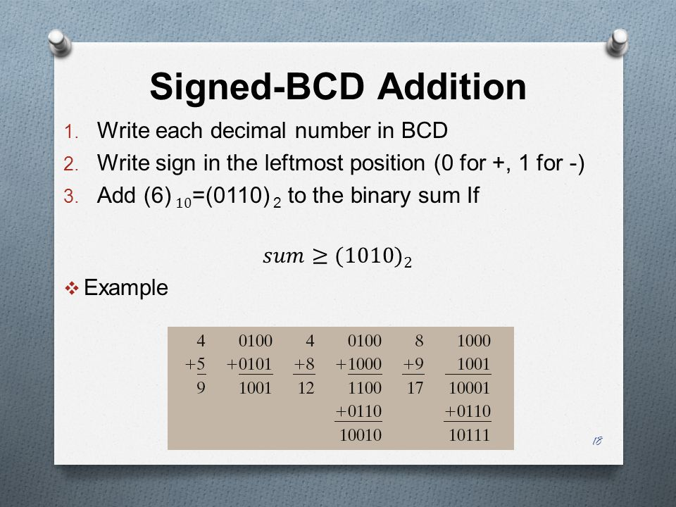 Signed-BCD Addition Write each decimal number in BCD
