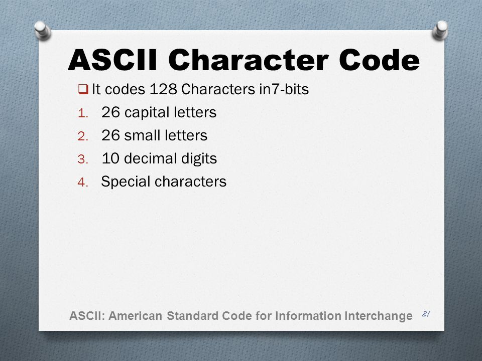 ASCII Character Code It codes 128 Characters in7-bits