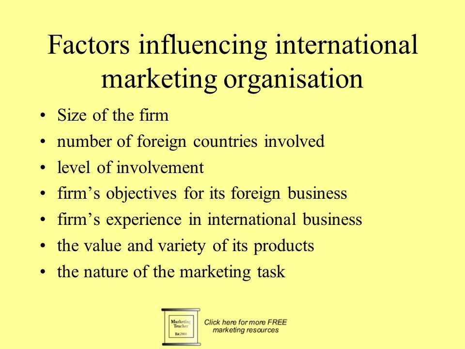 international marketing task Definition of international marketing international marketing can be defined as exchange of goods and services between different national markets involving buyers and sellers.