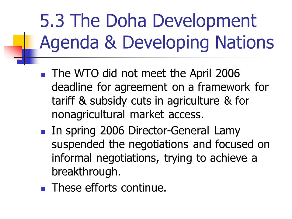 doha agenda Development agenda round: current status and future prospects giovanni anania university of calabria, italy wto doha development agenda round from january 2000 to september 2005 and identi es the main elements to be considered when speculating on the outcome.